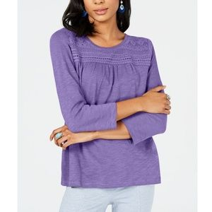 STYLE & CO Petite Cotton 3/4 Sleeve Top